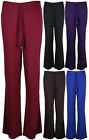 New Ladies Wide Flared Leg Trousers Womens Stretch Fit Palazzo Pants Size 8 - 14
