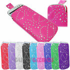 L DIAMOND GLITTER PU LEATHER PULL UP TAB POUCH SOCK CASE COVER FOR MOBILE PHONES
