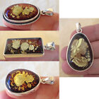 BALTIC AMBER & STERLING SILVER HANDMADE CAMEO or ROSE ENGRAVED FACETED PENDANT