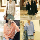 M L XL Hot Women Button Down Shirt Long Sleeve Collarless Blouse Tops 4 Colors Z