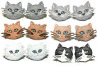 CUTE CAT FACE STUD or CLIP ON EARRINGS ~ 6 FACES ~ 2 STYLES