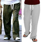 Mens Casual Design Comfortable Linen Rayon Drawstring Pants M L XL