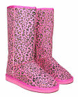 New Ladies Womens Faux Suede Leopard Animal Print Fur Lined Boots Sizes 3-8