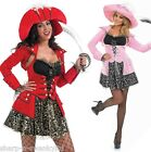 Ladies Glitzy Red/Black Pirate Hen Do Fancy Dress Costume Outfit 8-30 Plus Size