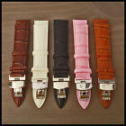 BNIB Croco-Grain Leather Watch Strap S/S Deployante Buckle Many Colours & Sizes