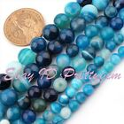6,8,10,12mm Round Smooth Blue Stripe Agate Gemstone Beads Spacer Strand 15""
