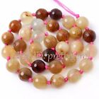 8mm 10mm 12mm Faceted Round Shape Hua Show Jade Gemstone Beads Strand 15""