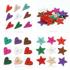 New Hot Wholesale Mixed Color 100pcs star Heart Wood Scrapbooking Sewing Button