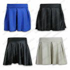 Ladies Skirt Womens Mini Wet Look Flared Pleated High Waisted Shorts Zip Party