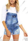 NEW DUNGAREE DENIM SHORTS Womens Size 8 10 12 14 16 Ladies DUNGAREES STRAPS