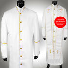 Clergy Robe All Sizes Solid White Gold Piping Cassock Full Length Preacher $200