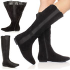 WOMENS LADIES LOW HEEL FLAT ROUND TOE ZIP RIDING WIDE STRETCH CALF BOOTS SIZE