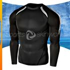 Mens Compression Round Long Sleeve Black/Black Stripe R12B/B S ~ 2XL