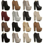 WOMENS LADIES PLATFORM BLOCK HIGH HEEL LACE UP ANKLE SHOE BOOTS BOOTIES SIZE