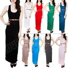 New Womens Ladies Plain Belted Racer Back Long Maxi Dress Plus Size 8 10 12 14