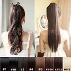 14 Style Straight Curly/wavy ponytail hair extensions brown blonde #613 18 21''