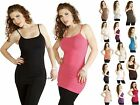 Bra Plain Camisole Layering Basic Long Stretchy Casual Cami Tank Tee Shirt Top