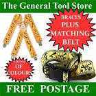 TAPE MEASURE WORK BRACES SUSPENDERS PLUS MATCHING HEAVY DUTY WORK TOOL BELT