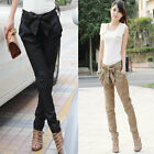 Chic Women OL Casual Hot Skinny Trousers With Belt Cotton Bownot Harem Pants