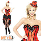 Red Burlesque Dancer Ladies Fancy Dress Moulin Rouge Can Can Womens Costume 8-16
