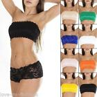 New Womens Ladies French Lace Bra Boobtube Padded Bandeau Bras Crop Top Size M L