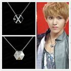 Punk Men's Black  Hexagon Pendant Chain Necklace With Rhinestone