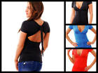 SEXY LOW-CUT PLUNGE Studded BACKLESS Ruched CLUB TOP~NWT~Black/Teal/Red~S/M/L/XL