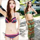 3 PC Bikini Set Top+Bottom+Trousers Swimwear Pad Underwire Halter Beach Casual