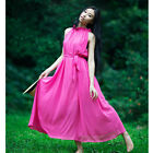 Ruffle Funnel Neck Umbrella Chiffon Long Maxi Dress Beach Sundress UL506