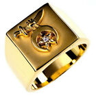 Shriner Mason Gold Plated April Clear Cubic Zirconia Stone Men Ring Size 7-14