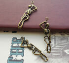 HANGING SKELETON Charms Creepy Halloween Bronze Tone Dead Man Charm 43x7 mm