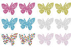 2 sm BUTTERFLY IRON-ON CRYSTAL BLING KID PARTY FUN CRAFT TSHIRT ACTIVITY PATCHES