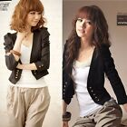 Women Puff Sleeve Double-Breasted Casual Solid Short Small Jacket Coat Outerwear