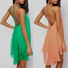 Sexy Women Chiffon Backless Sling Strap Back Club Mini Party Dress