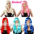 Womens Blue Green Red Pink Blonde Long COSPLAY WIG Hair Curly Fancy Dress