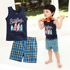 "2 pcs Vaenait Baby Toddler Kids Outfits Homewear Sleeveless Top+Shorts ""Waves"""
