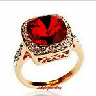 18k Rose Gold Plated Ruby Red Garnet Party Ring Made With Swarovski Crystal R136
