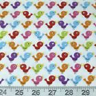 Fun Time Birds on White 100% Cotton Fabric