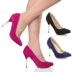 WOMENS LADIES HIGH METAL GOLD HEEL STILETTO COURT SMART EVENING SHOES SIZE