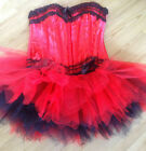 Burlesque Floral Strap Underwire Boned Corset Top Black Red Ivory More Sizes