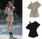 Fashion Casual Solid Color Womens Strapless Sexy Shoulder Jumpsuit Short Romper