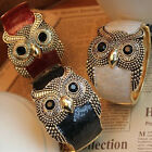 Women Girl Enamel Retro Tone Owl Open Hand Bangle Bracelet Cuff Gift New Fashion