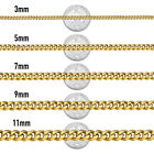 Stainless Steel Gold Chain Necklaces Curb Link Bracelet For Mens 3/5/7/9/11mm