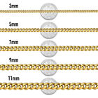 """18""""-36"""" Stainless Steel Gold Tone Chain Cuban Curb Mens Necklace 3/5/7/9/11mm"""