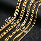 "18""-36"" Stainless Steel Gold Tone Chain Cuban Curb Mens Necklace 3/5/7/9/11mm"