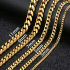 Kyпить Men 3/5/7/9/11mm 18-36 inch Gold Cuban Link Chain Necklaces Stainless Steel на еВаy.соm