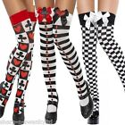 Ladies Black White Striped Deck of Cards Poker Vegas Fancy Dress Sexy Stockings