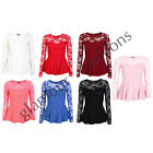 LADIES LACE MESH PEPLUM LONG SLEEVE SKATER TOP WOMENS FLARED VEST TOP SIZE 8-14