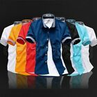 Hot Fashion Mens Luxury Casual Slim Fit Stylish Solid Color Dress Shirts Top