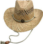 Cowboy Western Shapeable Straw Hat with Adjustable Cord USA Seller